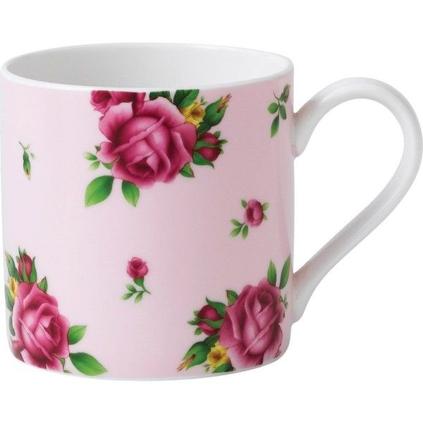 WEDGWOOD New Country Roses Pink modern mug ($12) ❤ liked on Polyvore featuring home, kitchen & dining, drinkware, pink mug, bone china, wedgwood, rose bone china and modern mugs