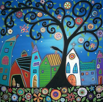 NEW, large ORIGINAL painting on CANVAS, ready to hang, one of a kind..TOWN, 20x20, copyrighted, www.karlagerard.com