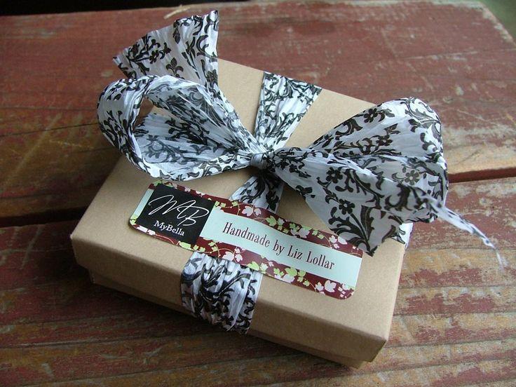 www.MyBellaMarketplace.com  #MyBellaMarketplace  MyBella Custom Gift Box Package With Paper Printed Damask Ribbon