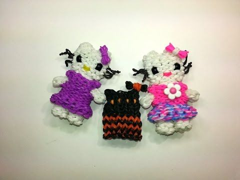 Rainbow Loom 3D HELLO KITTY DRESS-UP DOLL DRESS. Designed and loomed by Ellen Carpenter at feelinspiffy. Click photo for YouTube Tutorial. 09/27/14.