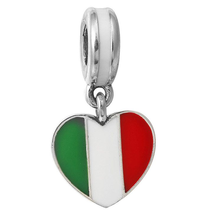 Heart Shape Italy Flag Big Hole Charm Pendants Fit Necklace Bracelet DIY Silvering Beads Fashion Jewelry Accessories JPP168