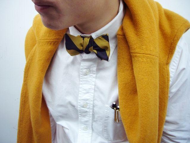 Bow tied.: Bowtie, Bows Ties, Footwear, Men'S Styles, Men'S Fashion, Interesting Styles, Mustard Yellow, Mustard Accessories, Pens