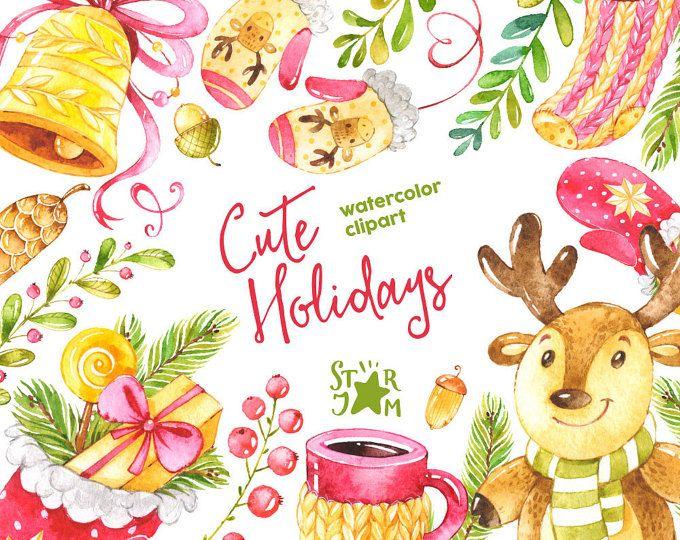 Vacanze carine. Clipart dell'acquerello, Natale, inverno, cervi, campana, muffole, cartolina d'auguri, fai da te, sciarpa, arredamento, pelliccia-albero, cono, tazza, Natale