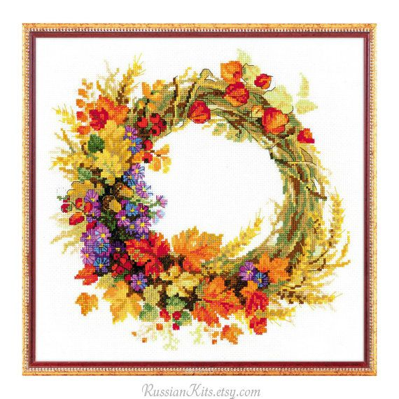 Counted Cross Stitch Kit  Wreath with wheat Riolis  by RussianKits