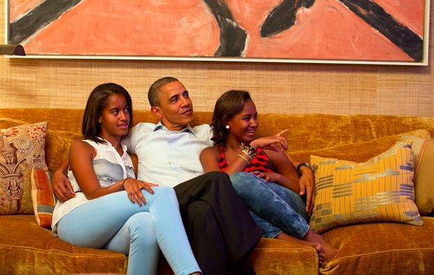 President Obama watches First Lady Michelle Obama's 2012 DNC speech with their daughters. This is completely adorable.