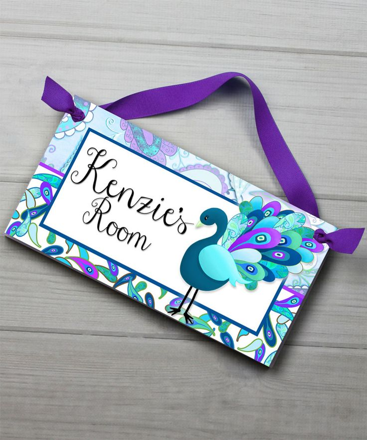 This Purple Peacock Personalized Door Sign by Toad and Lily is perfect! #zulilyfinds