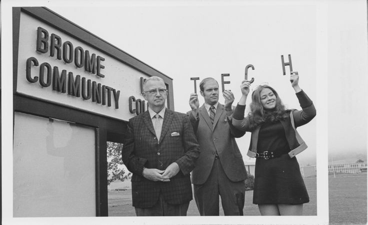 SUNY Broome has changed its name five times. Here, the school celebrates the change from Broome Tech to Broome Community College in 1971.