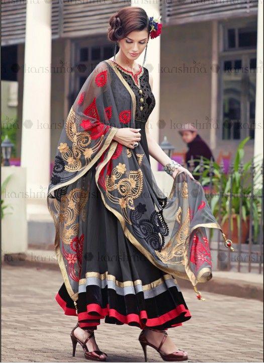 New Gray & Black Velvet & Georgette Fancy Anarkali Suit