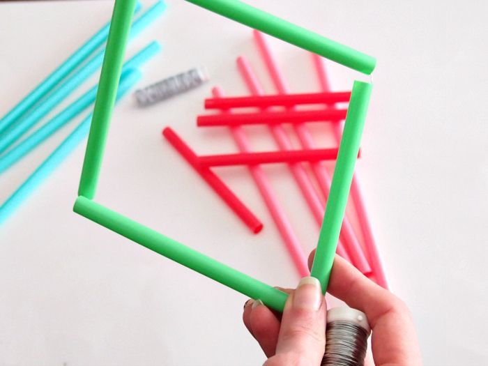 geometric sculptures straw