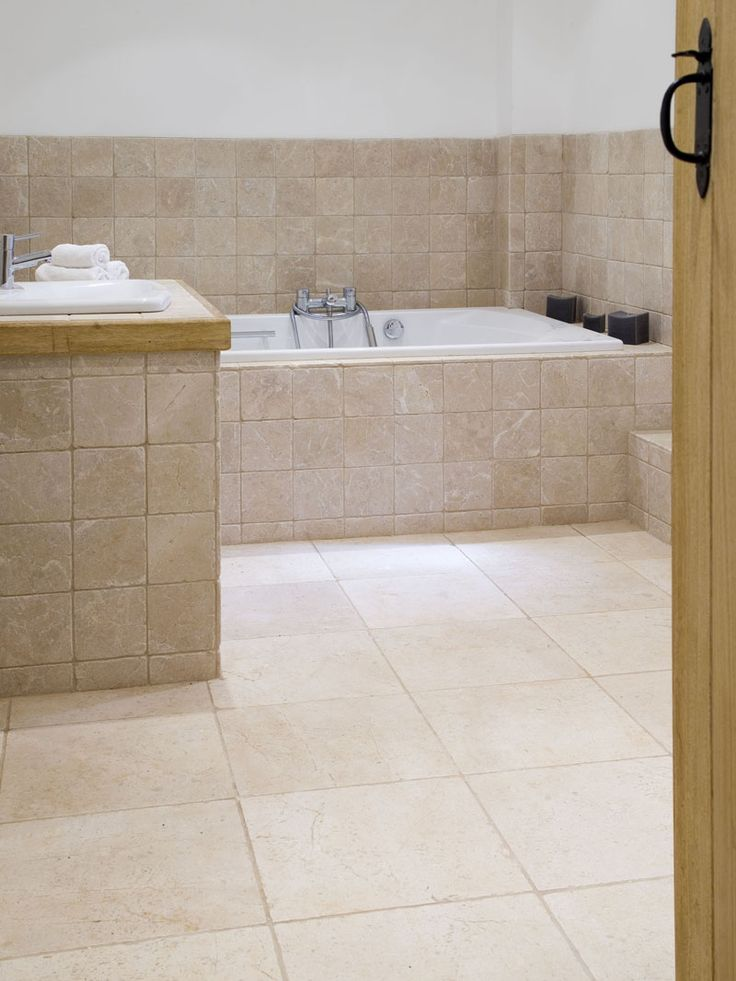 Ecru Tumbled Marble Master Bathroom