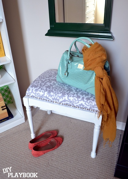 DIY Upholstered bench with nailhead trim