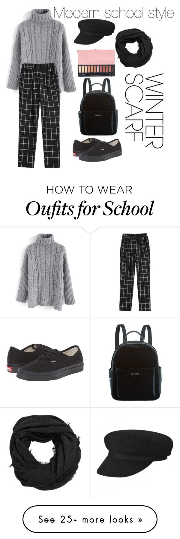 """Modern school style and winter scarf"" by cocomademoisellenumber5 on Polyvore featuring Chicwish, Vans, Calvin Klein, MANGO and modern"