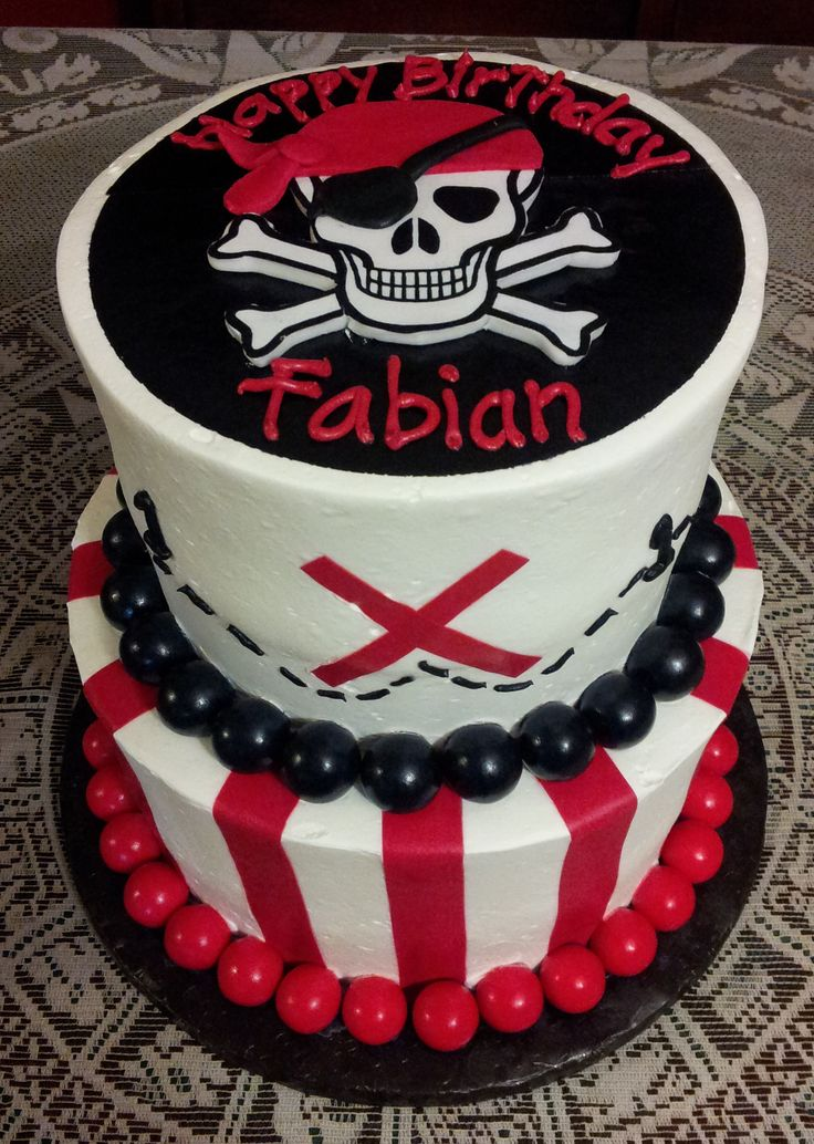"""Pirate themed cake - 7"""" & 11"""" rounds all frosted in Pastry Pride. Stripes and black circle on top tier were cut from Wilton sugar sheets. Skull was cut from gumpaste. Red and blacks balls are gumballs."""