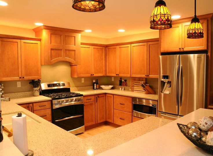 Craftsman Kitchen with Simple Granite, Liberty 4 in. Wire Cabinet Hardware Pull, Custom hood, U-shaped, Flush, Pendant Light