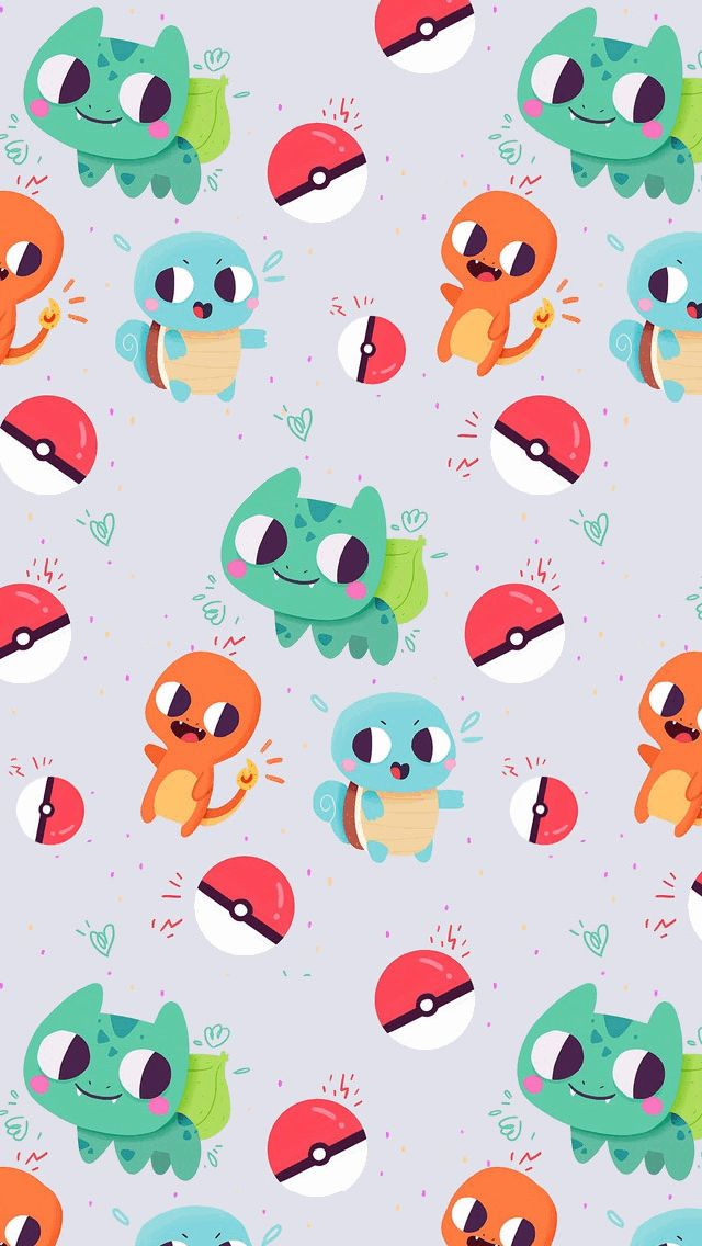 Cute Bulbasaur Charmander and Squirtle Pokemon - Tap to see more of the best background wallpapers for whatsapp! @mobile9