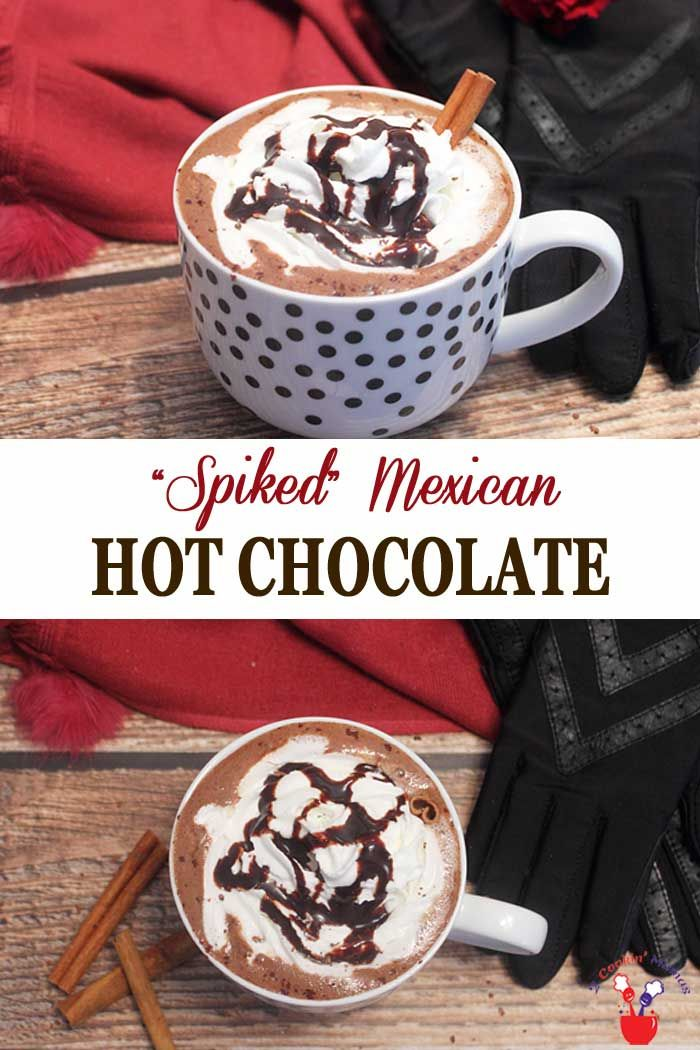 Spiked Mexican Hot Chocolate | 2 Cookin Mamas Our Spiked Mexican Hot Chocolate is the perfect drink for a cold night to wrap your hands around. Rich hot chocolate is flavored with cinnamon, sweetened with marshmallows then kicked up a notch with coffee tequila. #hotchocolate #beverage #tequila #wintercocktail