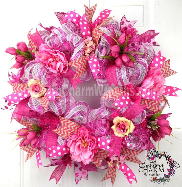 deco mash   Deco Mesh Summer Wreath Pink Peony Tulip Burlap Chevron Ribbon Door ...