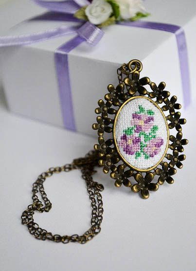 Cross stitch necklace Ethnic necklace hand embroidery pendant free shipping