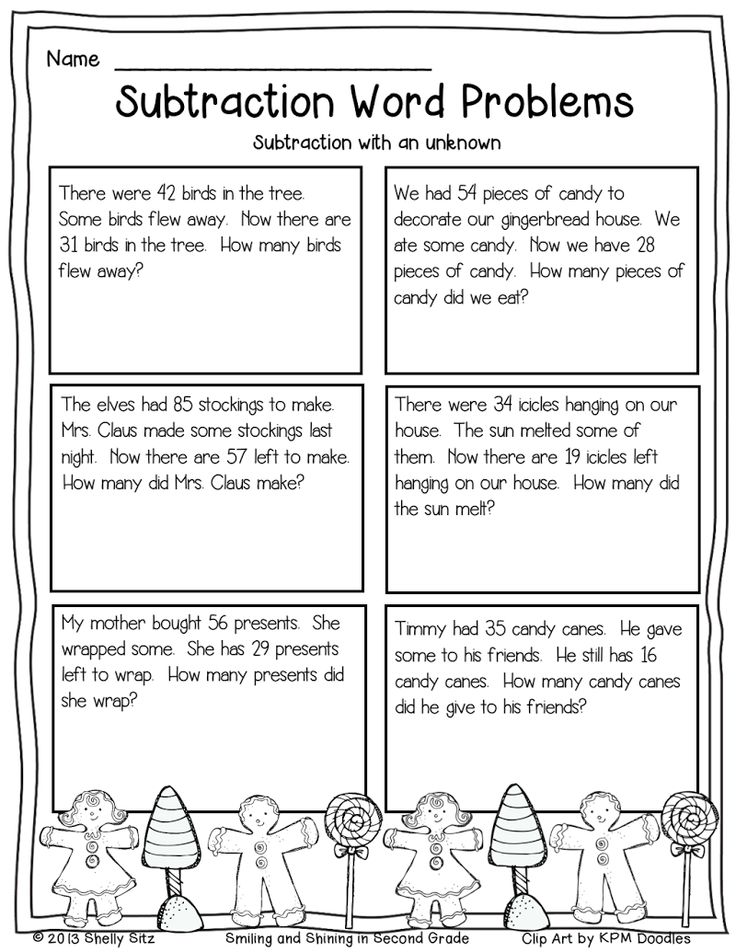Page 1 Subtraction word problems, Word problems, Math words