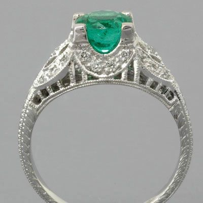 Edwardian Emerald Engagement Ring Antique Style with Zambian Emerald and Diamonds