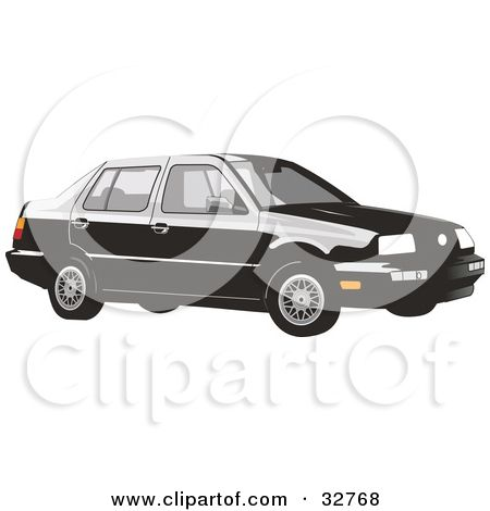 Clipart Illustration of a Black Volkswagen Jetta Car by David Rey