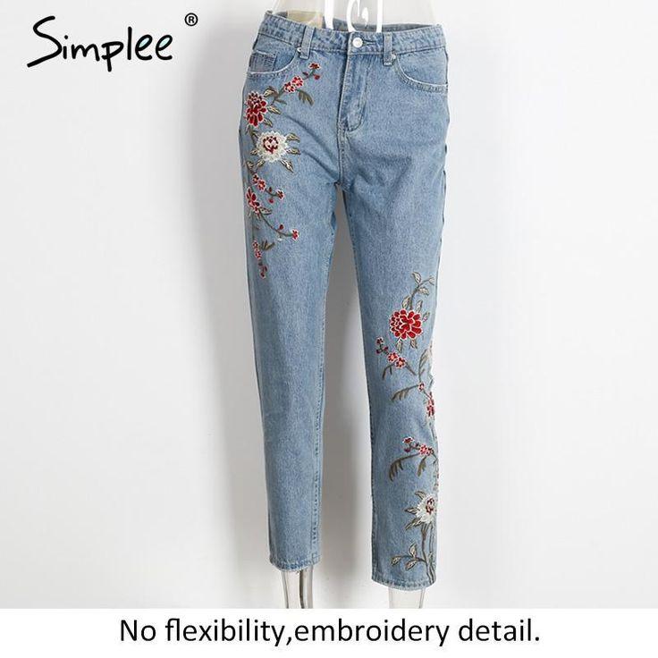 Simplee Цветок вышивка джинсы женские голубой случайные штаны капри 2016 осень зима Карманы прямые джинсы женщин нижняя