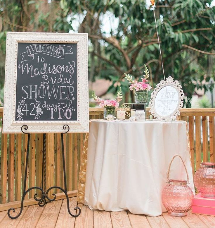 country style wedding shower ideas%0A Decor Welcome board  Backyard Bridal ShowersBackyard