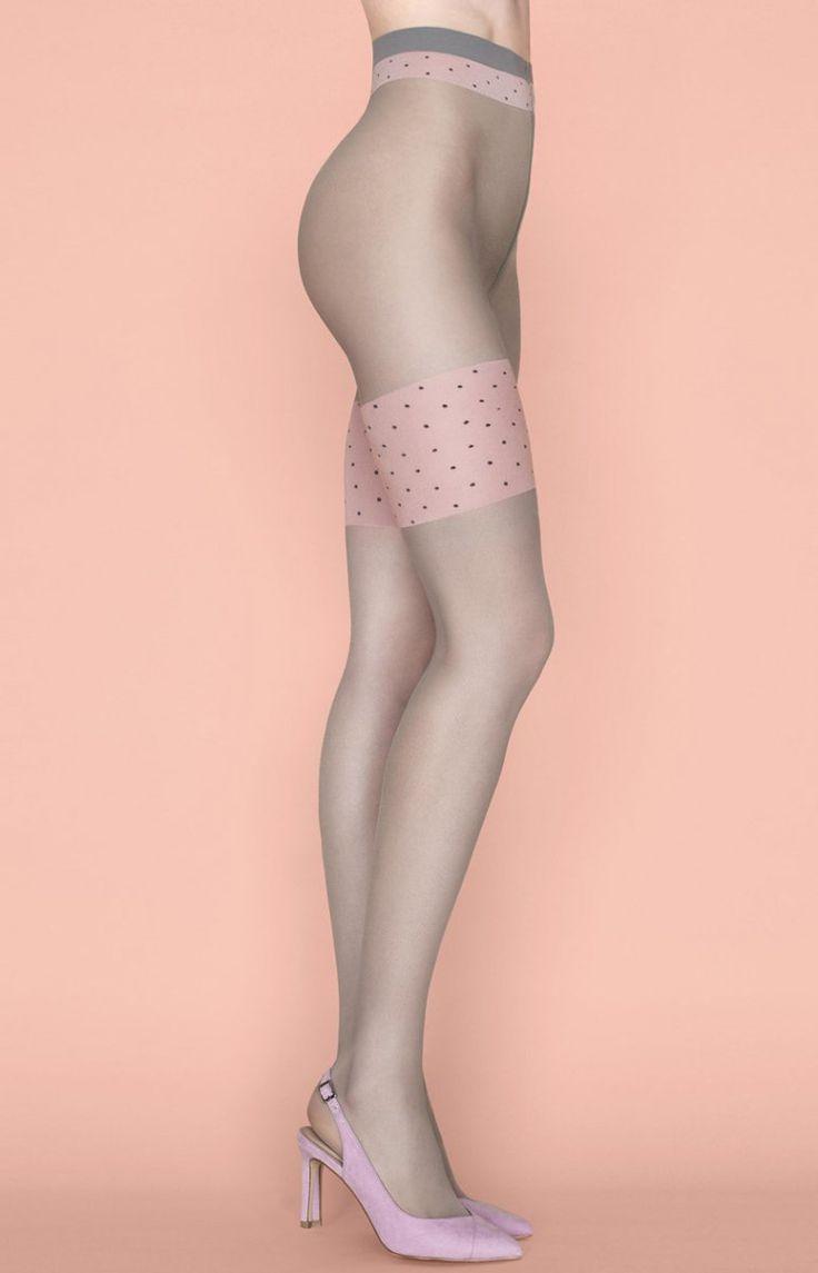 Fiore Lolita 20 den rajstopy Uwodzicielskie rajstopy imitujące pończochy, grubość 20DEN, bawełniany klin w rozmiarze 3 i 4