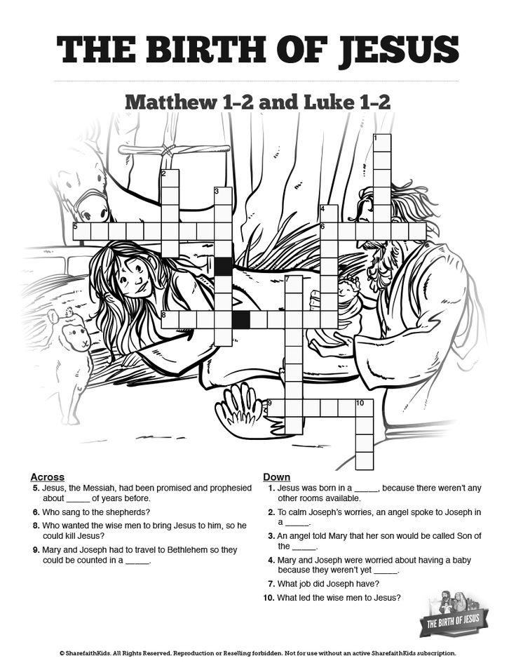 The Birth of Jesus Sunday School Crossword Puzzles This