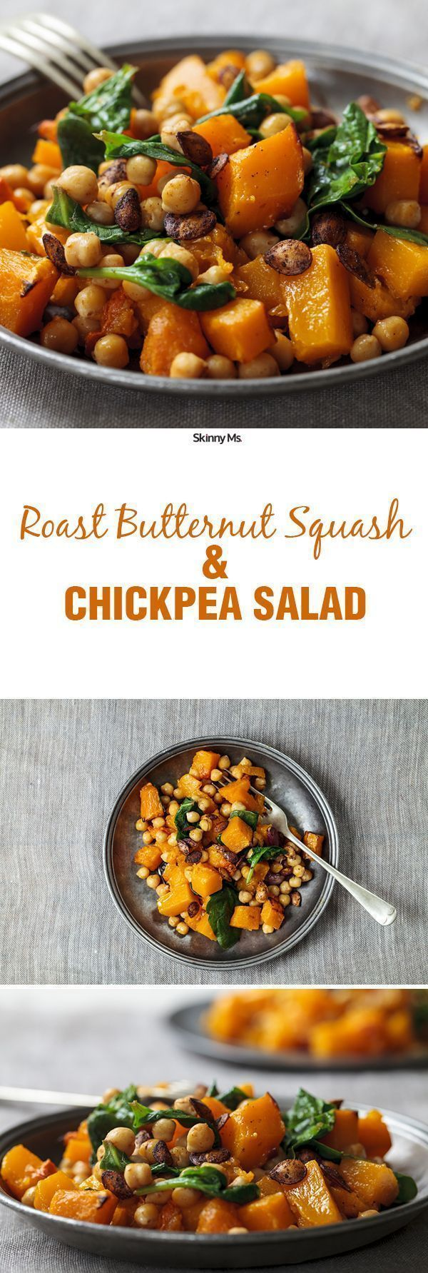 Try this Roasted Butternut Squash and Chickpea Salad for a healthy and filling fall superfood salad.