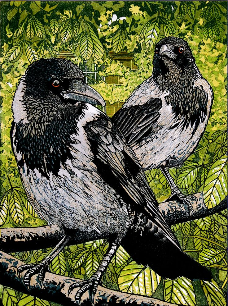 Hooded Crows. Linocut by Mike Smith