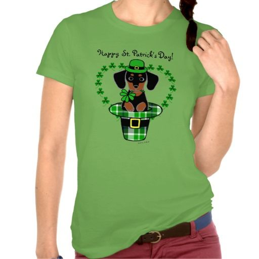 Very cute St. Patrick Day Dachshund Cartoon 4 Tee Shirt for Doxie lovers!  #St.Patrick'sDay #doxie #dachshund