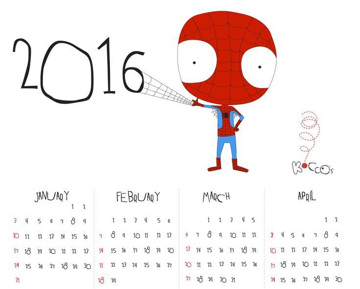 2016 Calendar | Printable Calendar, Spiderman Calendar, Super Hero Calendar, Year Printable Calendar, Illustrated Calendar, Instant Download by KoCcos on Etsy