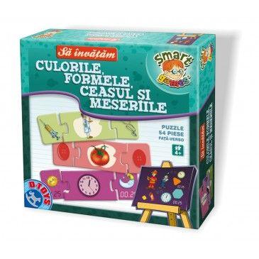 """Cu ajutorul jocului puzzle """"Culorile, Formele, Ceasul și Meseriile"""" copii își vor lărgi cunoștințele, își vor dezvolta simțul de observație și gândirea logică și să facă raționamente și asocieri"""