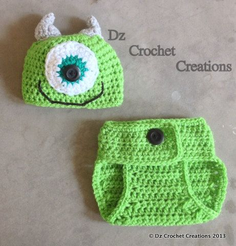 Crochet Mike Inspired Monster Inc.. Outfit  Photo by HandMadeByDz, $20.00