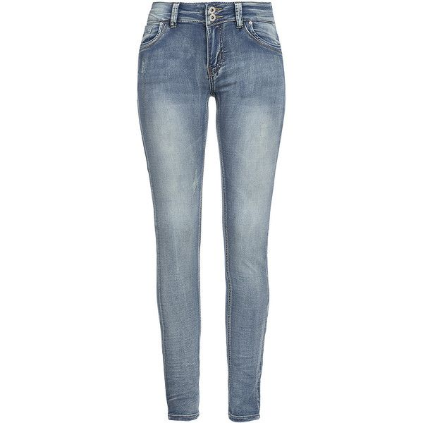 Hailys Damen Jeans CLARA AM-89SS15 5-Pocket 2 Knöpfe Destroy Look hell... (680 MXN) ❤ liked on Polyvore featuring jeans, destructed jeans, blue jeans, destroyed jeans, torn jeans and distressing jeans