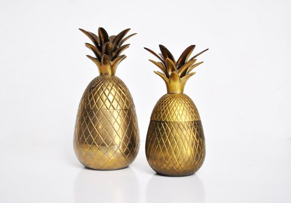 Vintage 7 Brass Pineapple Container by thewhitepepper on Etsy, $64.50