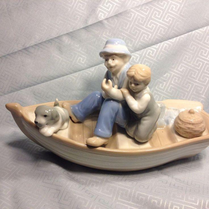 Vintage Meico Porcelain Grandpa Boy Amp Dog Fishing Boat