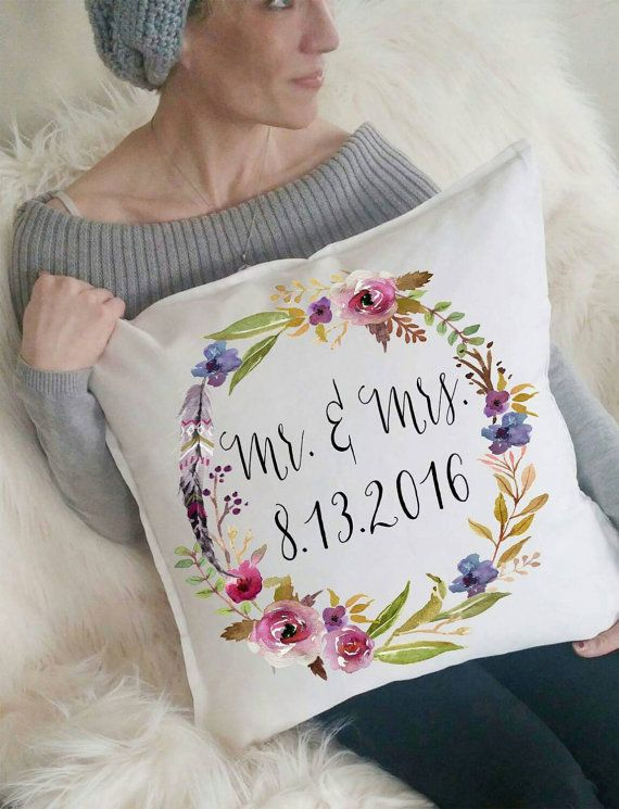 Mr Amp Mrs Wedding Date Floral Pillow By 42ndstdesigns On Etsy