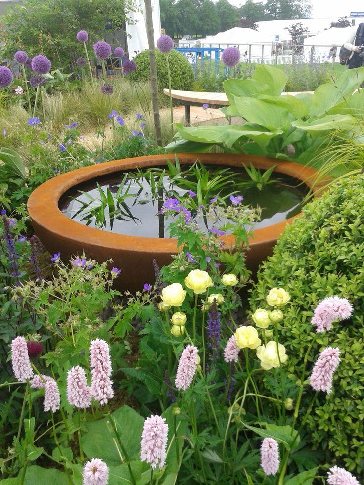 Urbis design water bowl on Watergems show garden. Designed by Carolyn Grohmann for Gardening Scotland 2014.