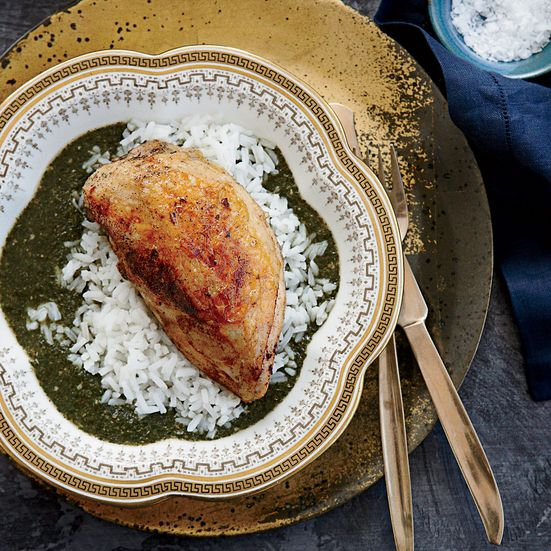 In this Egyptian recipe, chicken is poached to make a broth for cooking a dark, bittersweet green that becomes a sauce.