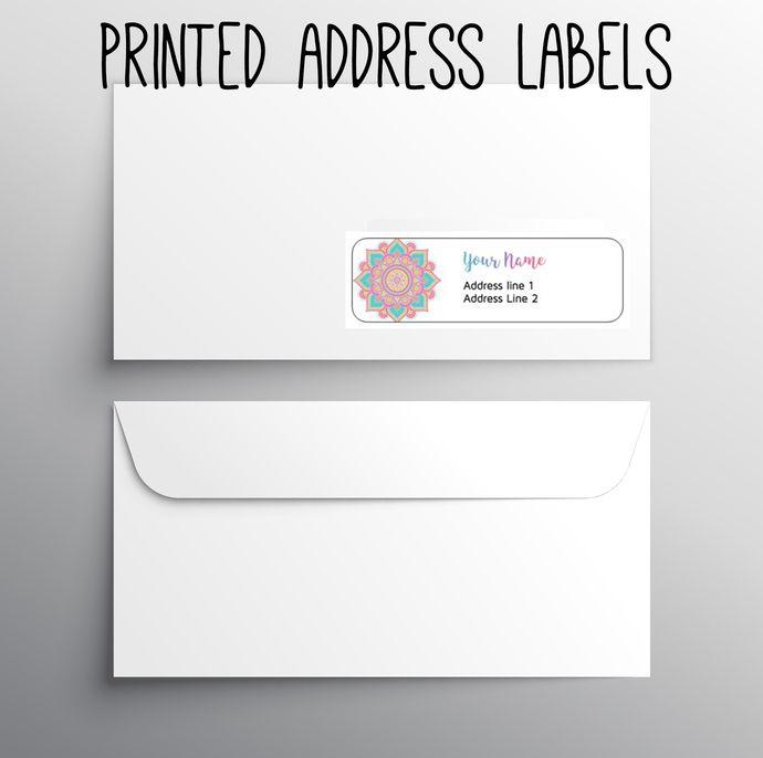 140 Return Address labels- Printed address labels- Fashion business labels- Custom Digital or printed- Mandala Rainbow- by okprintables, $10.00 EUR