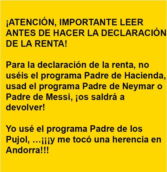. INFORMACION IMPORTANTE SOBRE LA DECLARACION DE LA RENTA ·