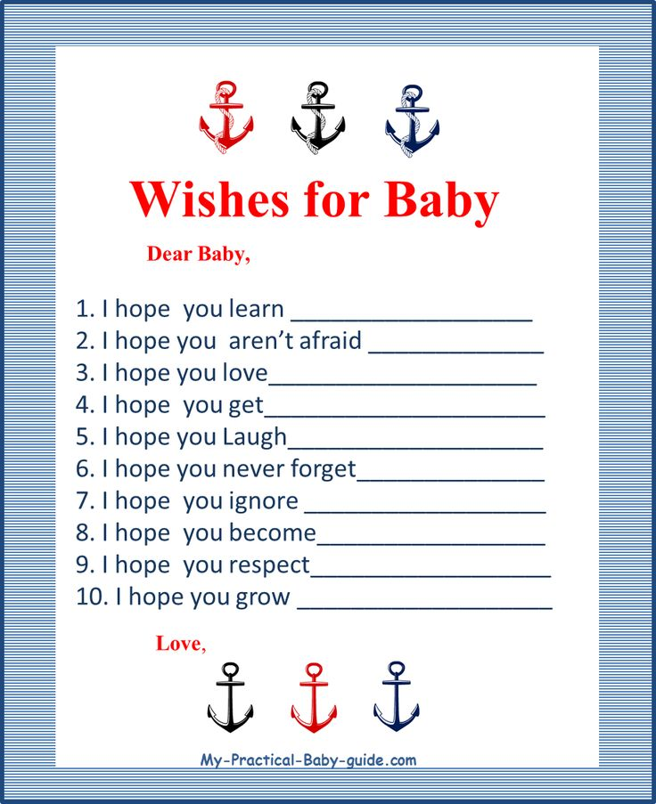 Free Printable Nautical Baby Shower Wishes for Baby