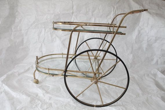 1970s Gilt Metal & Glass Big Wheel Bar Cart Midcentury