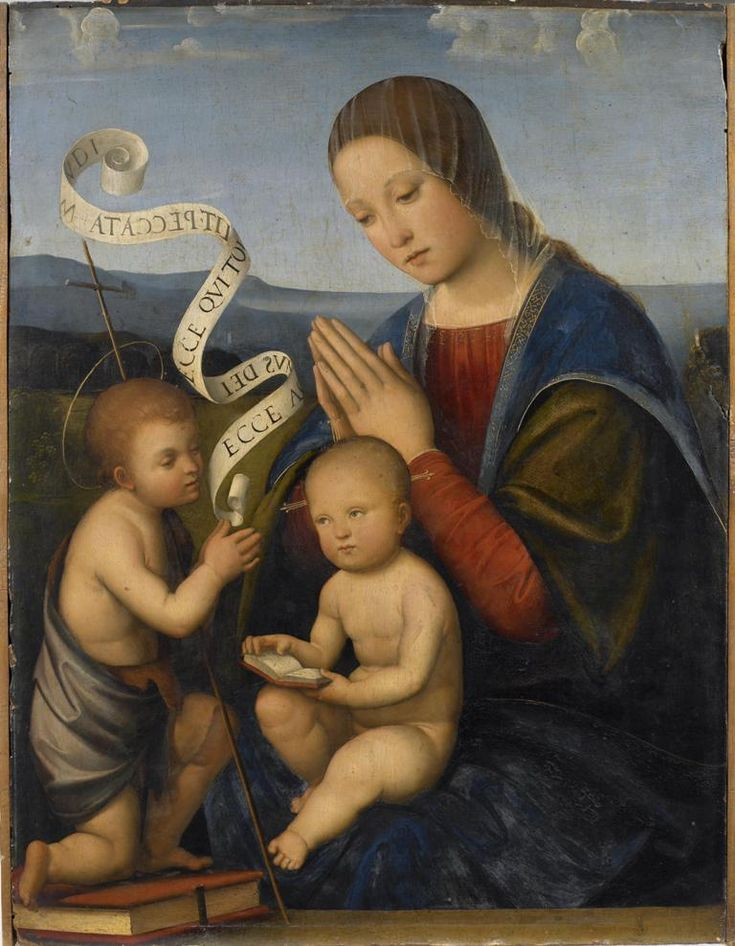 Francesco de' Raibolini detto Francesco Francia (Bologna, 1447 circa-1517), Madonna con il Bambino e san Giovannino 1500-1505, olio su tavola, cm 61,5x46, Brescia, Pinacoteca Tosio Martinengo