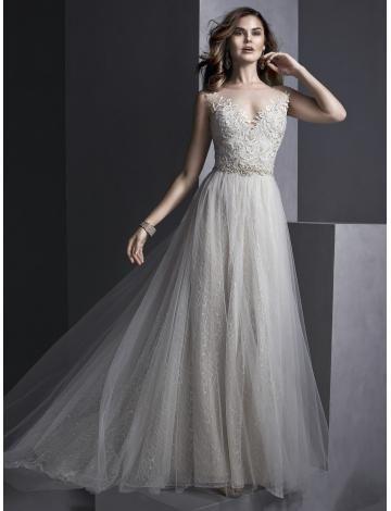 Robes de mariée en tulle applique traîne chapelle glamour et moderne col bateau pas cher