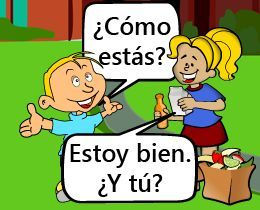 Learn how to say common greetings in Spanish (hellos and goodbyes).  Tap or click on the comic to listen to each scene and then review more Spanish vocabulary and expressions  Listen to the correct pronunciation, learn a few sample sentences using the vocabulary.  Print out the vocabulary.