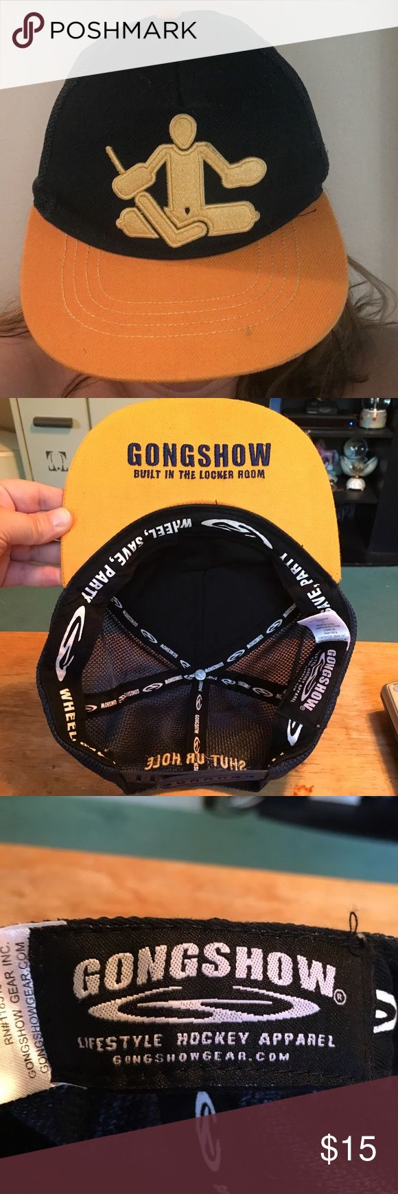 "GONG SHOW Goalie Trucker Hockey Hat ""Shut UR Hole GONG SHOW is known for their hockey attire. This is a trucker hat that features a goalie and his 5 hole. On the back it has embroidered ""Shut Ur Hole"" It is a snap back so one size fits most. Gong Show Accessories Hats"