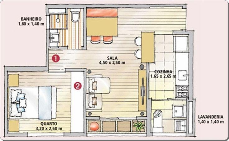 25 melhores ideias sobre plantas de apartamentos pequenos for Diseno de apartamento de 60m2